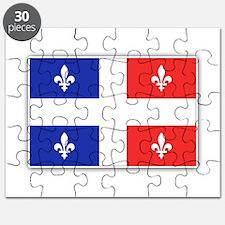Drapeau Quebec Bleu Rouge Puzzle