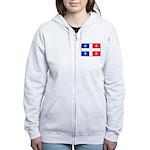 Drapeau Quebec Bleu Rouge Women's Zip Hoodie