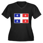 Drapeau Quebec Bleu Rouge Women's Plus Size V-Neck