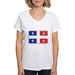 Drapeau Quebec Bleu Rouge Women's V-Neck T-Shirt