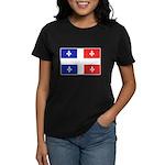 Drapeau Quebec Bleu Rouge Women's Dark T-Shirt