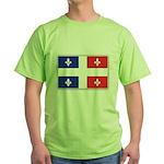 Drapeau Quebec Bleu Rouge Green T-Shirt