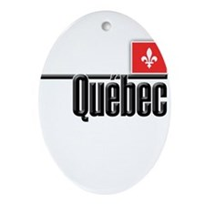 Quebec Red Square Ornament (Oval)
