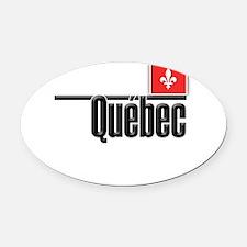 Quebec Red Square Oval Car Magnet