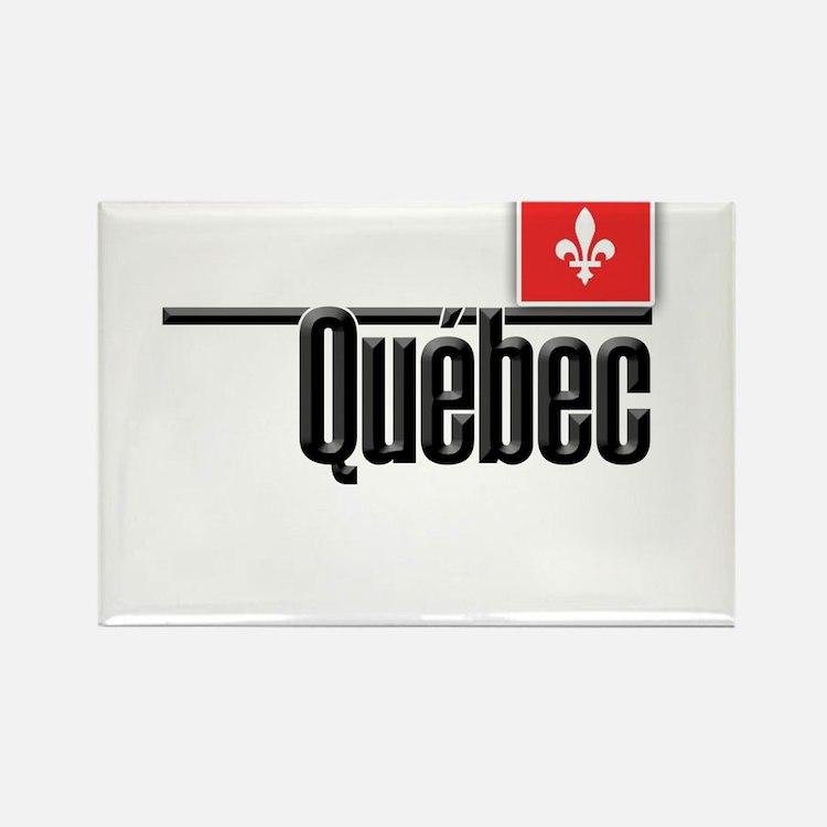 Quebec Red Square Rectangle Magnet