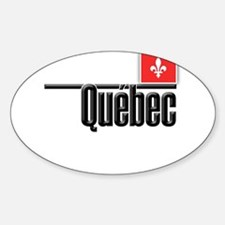 Quebec Red Square Sticker (Oval)