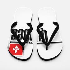 Quebec Red Square Flip Flops