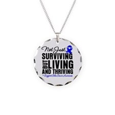 Thriving - Colon Cancer Necklace Circle Charm