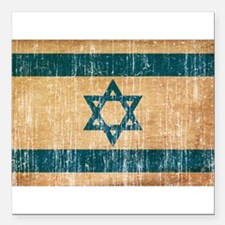"Israel Flag Square Car Magnet 3"" x 3"""