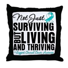Thriving - Cervical Cancer Throw Pillow