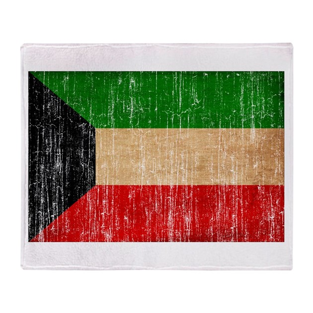 Kuwait Flag Throw Blanket By AntiqueAgedFlags