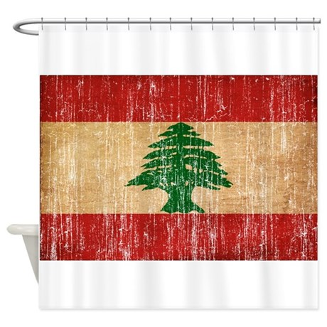 Lebanon flag shower curtain by antiqueagedflags for Bathroom designs lebanon