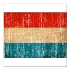 "Luxembourg Flag Square Car Magnet 3"" x 3"""