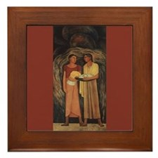 Diego Rivera Two Indian Women Art Framed Tile
