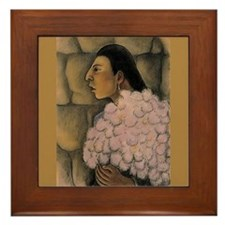 Diego Rivera Woman with Flowers Art Framed Tile