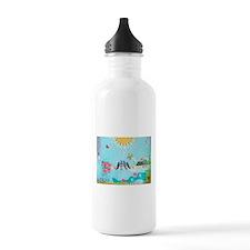Bird Family Collage Art Water Bottle
