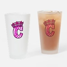 Pink Zebra C with Pink Crown Drinking Glass