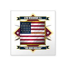 "6th Wisconsin (Diamond).png Square Sticker 3"" x 3"""