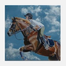 Horse Jumper in the Clouds Tile Coaster