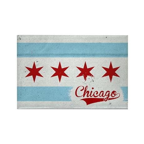 Vintage Chicago Flag Design Rectangle Magnet (10 p