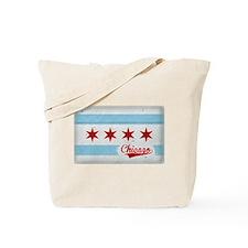 Vintage Chicago Flag Design Tote Bag