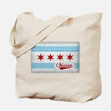 Vintage Chicago Flag Design Tote Bag