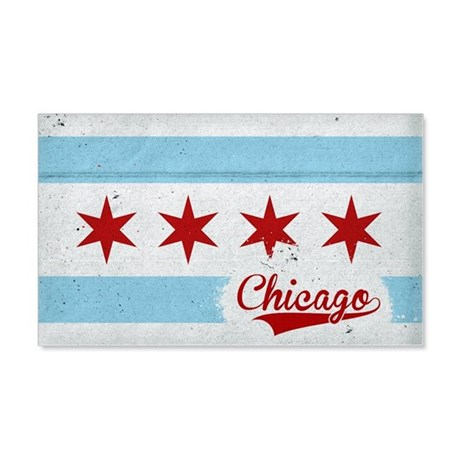Vintage Chicago Flag Design 20x12 Wall Decal