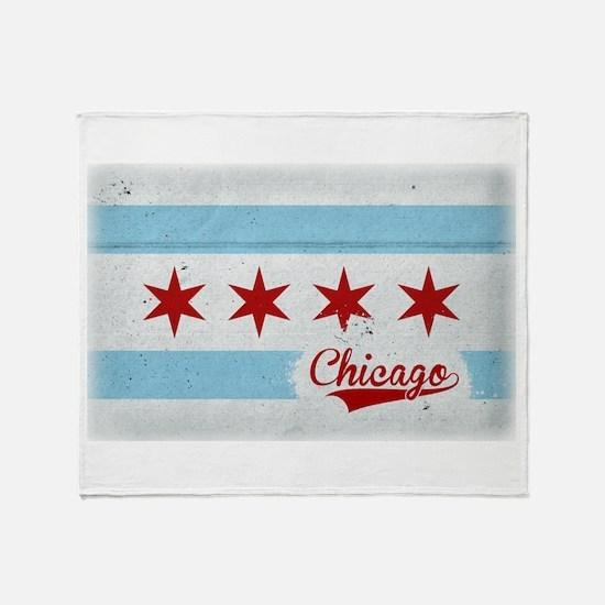 Vintage Chicago Flag Design Throw Blanket