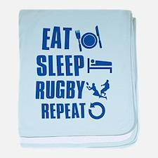 Eat Sleep Rugby baby blanket