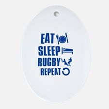 Eat Sleep Rugby Ornament (Oval)