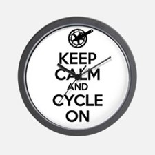 Keep Calm and Cycle On Black Text Wall Clock