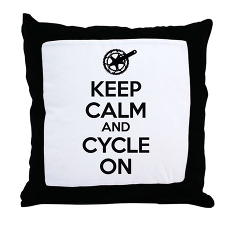 Keep Calm and Cycle On Black Text Throw Pillow