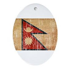 Nepal Flag Ornament (Oval)
