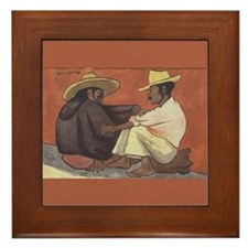 Diego Rivera Indian Couple Art Framed Tile