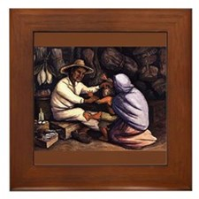 Diego Rivera Indian Healer Art Framed Tile