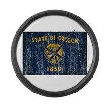 Oregon Flag Large Wall Clock