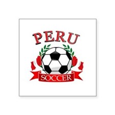 "Peru Soccer designs Square Sticker 3"" x 3"""