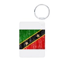 Saint Kitts Nevis Flag Aluminum Photo Keychain