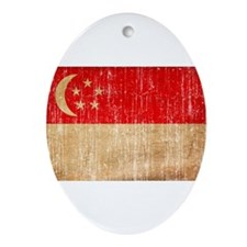 Singapore Flag Ornament (Oval)