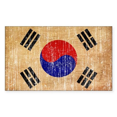 South Korea Flag Sticker (Rectangle)