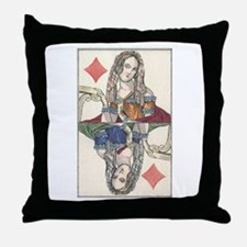 German Queen of Diamonds Throw Pillow