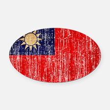 Taiwan Flag Oval Car Magnet