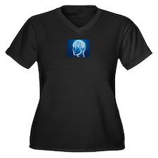 Brain 1 Women's Plus Size V-Neck Dark T-Shirt