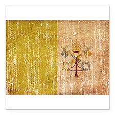 """Vatican City Flag Square Car Magnet 3"""" x 3"""""""