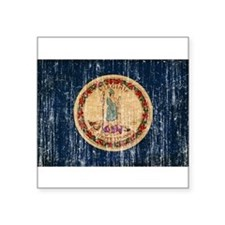 "Virginia Flag Square Sticker 3"" x 3"""