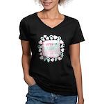 Women for Obama Inked Women's V-Neck Dark T-Shirt