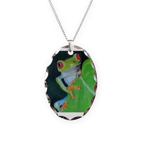 Peekaboo Tree Frog Necklace Oval Charm