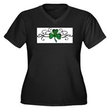 Cute Irish Women's Plus Size V-Neck Dark T-Shirt