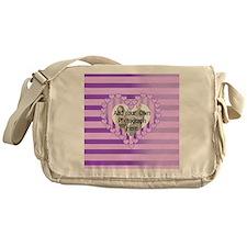 Designer pink love heart photo frame Messenger Bag