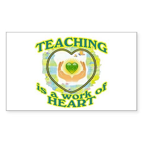 Teaching is a work of Heart Sticker (Rectangle)